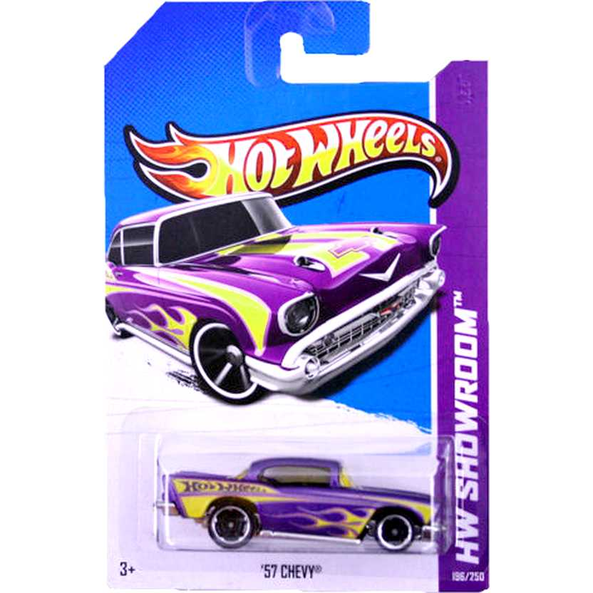 2013 Hot Wheels 57 Chevy roxo X1859 series 196/250 escala 1/64