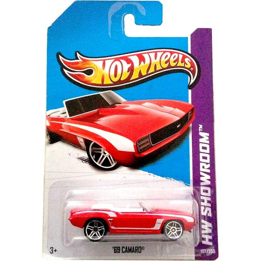 2013 Hot Wheels 69 Camaro conversível vermelho X1860 series 197/250 escala 1/64