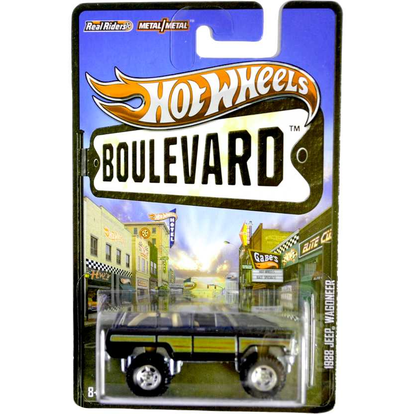 2013 Hot Wheels Boulevard 1988 Jeep Wagoneer X8239 escala 1/64 com pneus de borracha