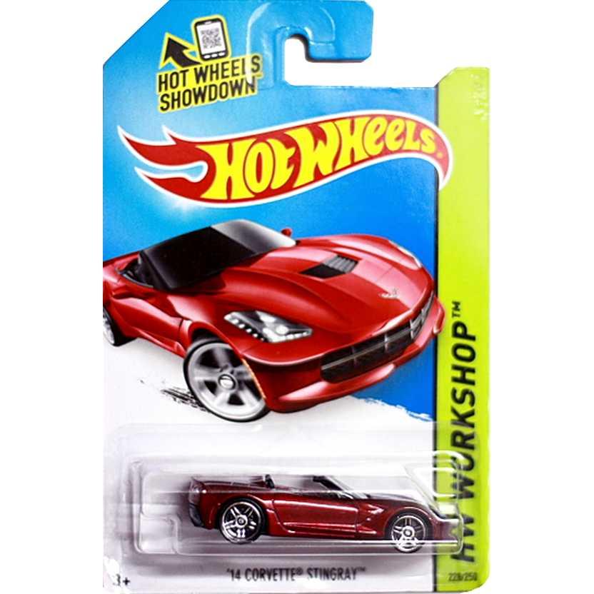 2014 Hot Wheels 14 Corvette Stingray vermelho BDD19 series 228/250 escala 1/64