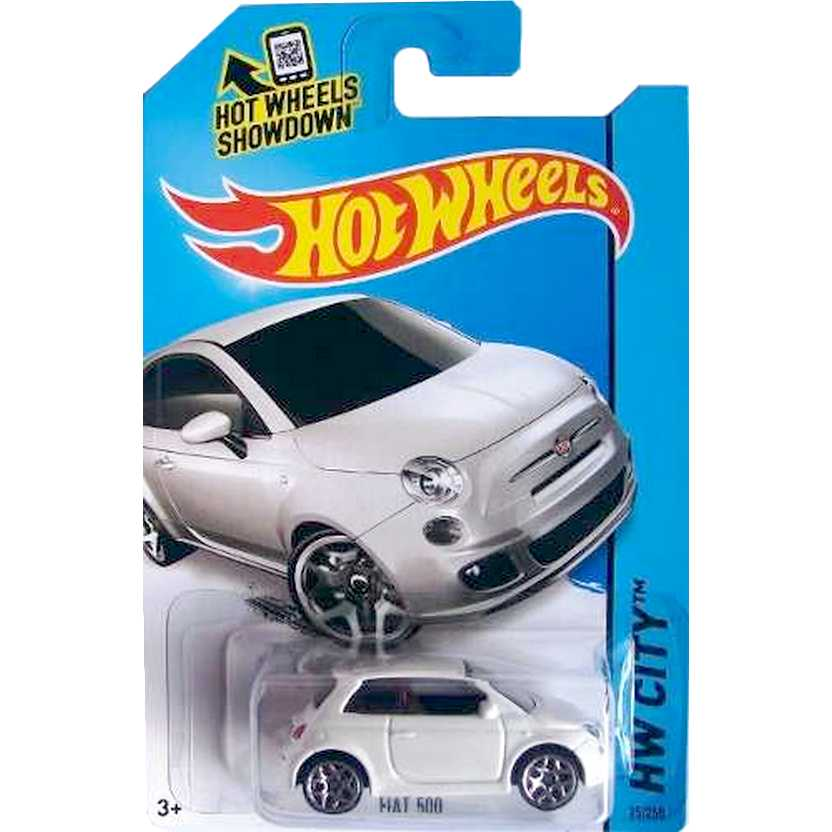 2014 Hot Wheels Fiat 500 Branco BFF82 series 25/250 escala 1/64
