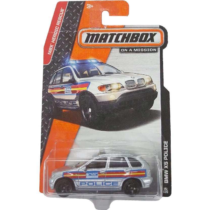 2014 Matchbox BMW X5 Police 90/120 BDV14 escala 1/64