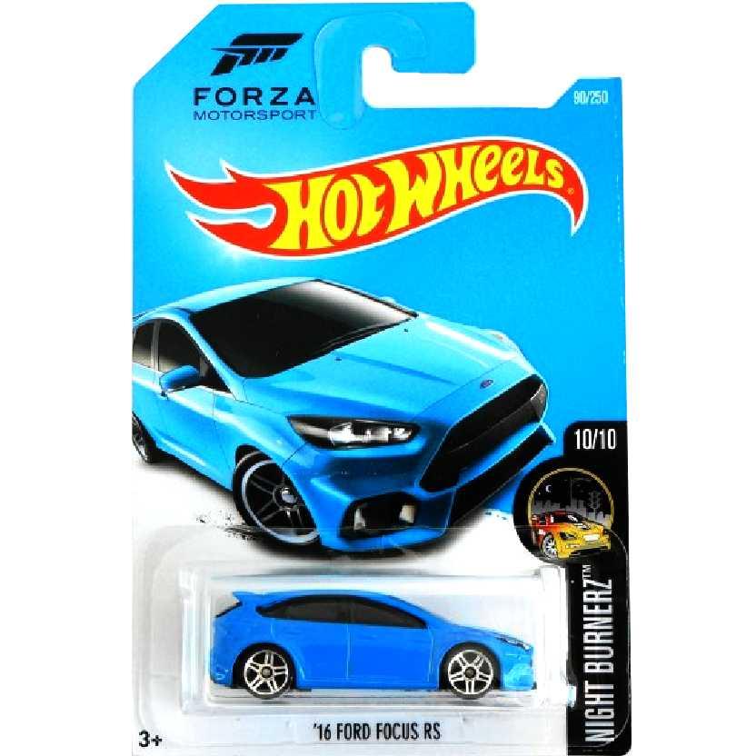2016 Hot Wheels 16 Ford Focus RS azul DHP07 series 10/10 90/250 escala 1/64