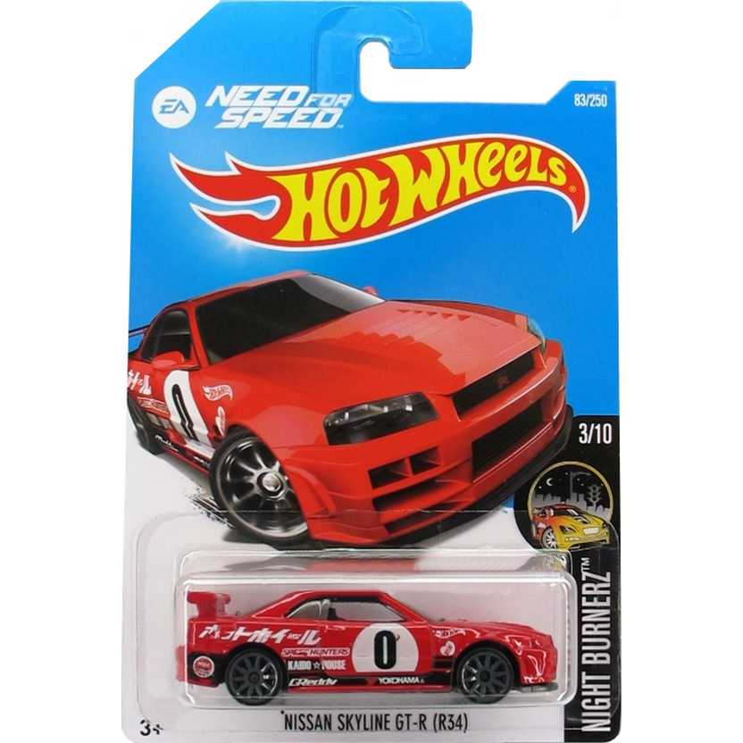 2016 Hot Wheels Nissan Skyline GTR (R34) Need for Speed series 83/250 DHP63 escala 1/64