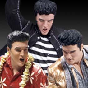 3 Bonecos do Elvis Presley - The Year in Gold / Jailhouse Rock / Aloha (1956/1957/1961)