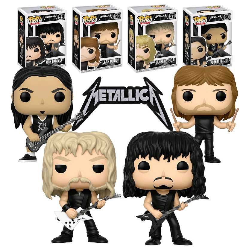 4 Bonecos Funko Pop! Metallica (James Hetfield, Lars Ulrich, Kirk Hammett e Robert Trujillo)
