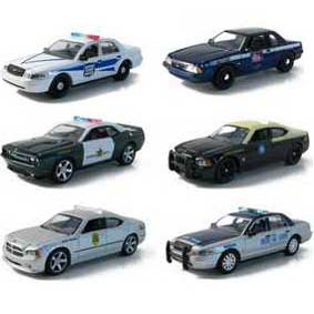 6 Carrinhos de metal Greenlight Hot Pursuit série 4 R4 42610 Police escala 1/64