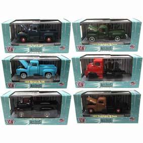 6 Miniaturas com caixa de acrílico da M2 1/64 Auto-Thentics série 17 R17 32500