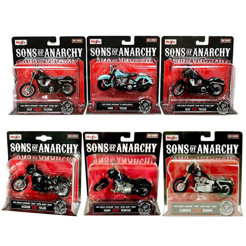 6 miniaturas de Harley-Davidson Sons of Anarchy marca Maisto escala 1/18