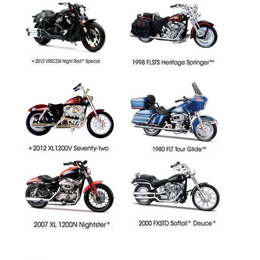6 Miniaturas Harley-Davidson série 31 - Maisto escala 1/18 S-31
