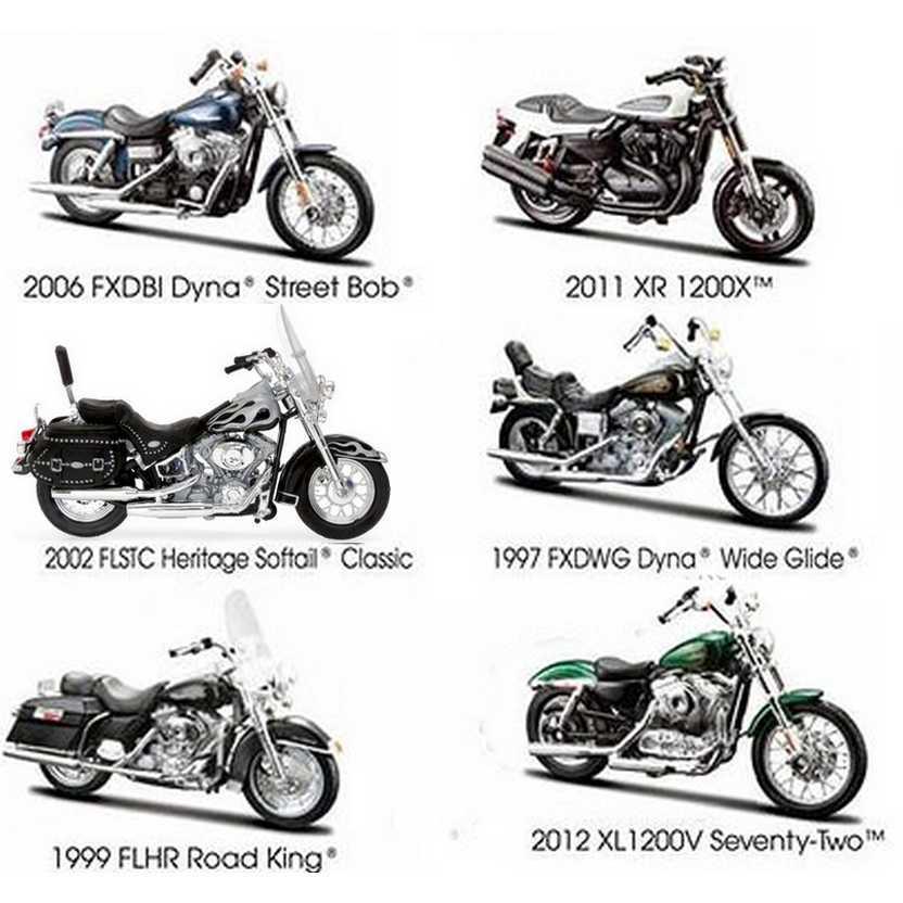6 Miniaturas Harley-Davidson série 32 - Maisto escala 1/18 S-32