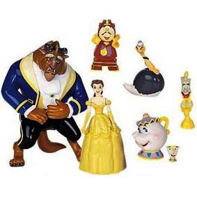7 Bonecos da Bela e a Fera (aberto) Disney Beauty and the Beast Play Set