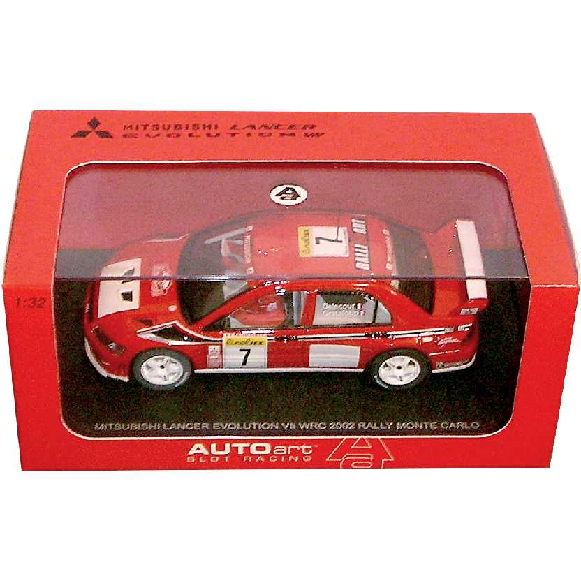 Autorama AutoArt Mitsubishi Lancer Evolution WRC 2002 (Monte Carlo) Slot Car escala 1/32