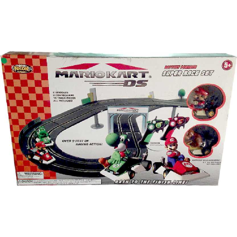 Autorama do Mario Kart DS Super Racer Set (2 controles + 2 carrinhos + 18 pistas) RARO
