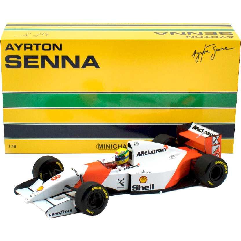 Ayrton Senna McLaren FORD MP4/8 (1993) Minichamps escala 1/18 Vitória histórica em Interlagos