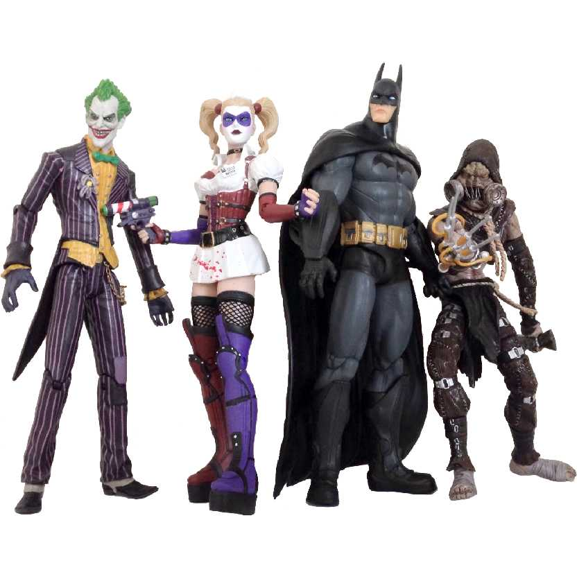 Batma Arkham Asylum: Batman, Joker, Harley, Scarecrow 4 Pack DC Direct action figures