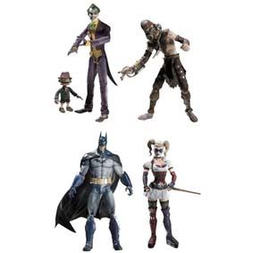 Batman Arkham Asylum DC Direct Collector Batman, Joker, Scarface, Scarecrow e Harley Quinn
