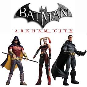 Batman Arkham City 3 bonecos de coleção DC Direct (série 1)