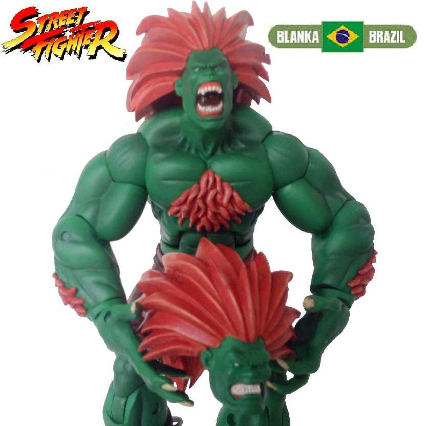 Blanka Série 2 (aberto) Boneco Sota Toys Street Fighter completo com 2 cabeças