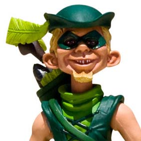 Boneco Alfred E. Newman Green Arrow MAD Just Us League of Stupid Heroes