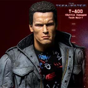 Boneco Arnold Schwarzenegger Terminator T-800 ( Battle Damaged Tech Noir )