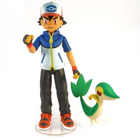 Boneco do Treinador Ash com Pokemon Snivy (aberto) :: Bonecos Pokemon Black & White
