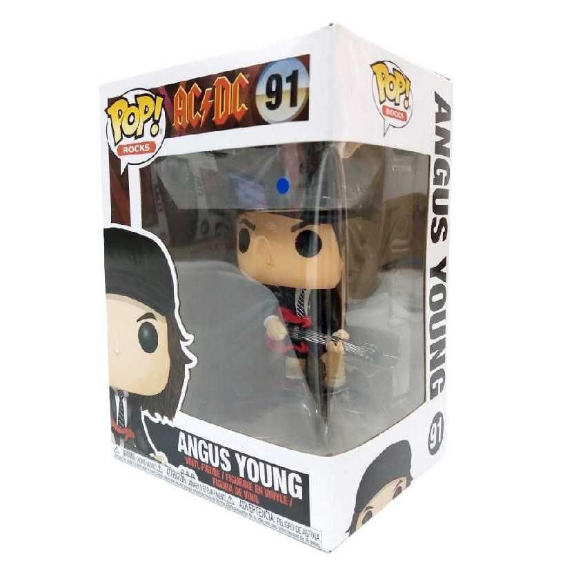 Boneco Funko Pop! Rocks AC/DC Angus Young vinyl figure número 91 com base transparente