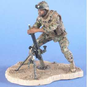 Boneco McFarlane: Military Marines Corps Mortar Loader African (aberto)