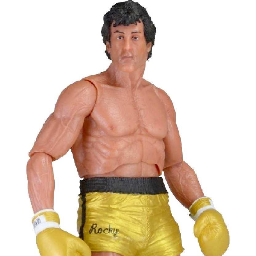 Boneco Rocky Balboa calção amarelo (Sylvester Stallone) Rocky 40th Anniversary Neca series 1