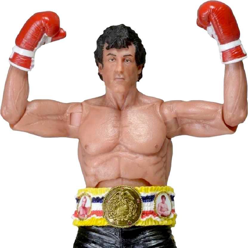 Boneco Rocky Balboa com cinturão (Sylvester Stallone) Rocky 40th Anniversary Neca series 1