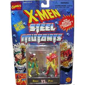 Boneco Toy Biz no Brasil Marvel Rogue vs. Pyro ( X-Men Steel Mutants em Metal)