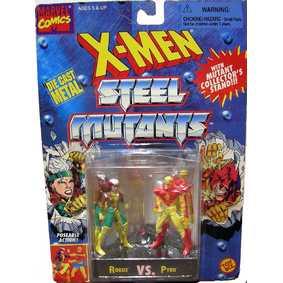 Boneco Toy Biz no Brasil Marvel Rogue vs. Pyro ( X-Men Steel Mutants em Metal)