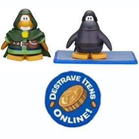 Bonecos Club Penguin S8 - Guardião da Floresta e Ninja (aberto) com código