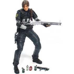 Bonecos Resident Evil 4 Leon Kennedy RCPD Neca Toys Action Figures (aberto)