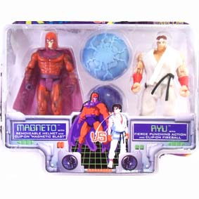 Bonecos X-men Vs. Street Fighter Magneto Vs. Ryu / Toy Biz / Gulliver (aberto)