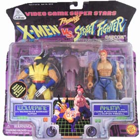 Bonecos X-men Vs. Street Fighter Wolverine Vs. Akuma / Toy Biz / Gulliver (aberto)