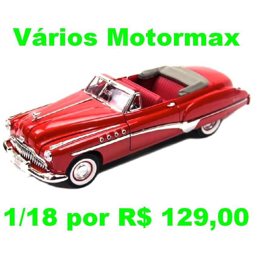 Buick Roadmaster conversível (1949) miniatura de carro antigo marca Motormax escala 1/18