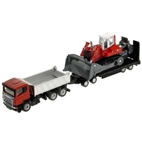 Caminhão Scania caçamba plataforma baixa e Trator Escavadeira Liebherr PR764 Siku 1854