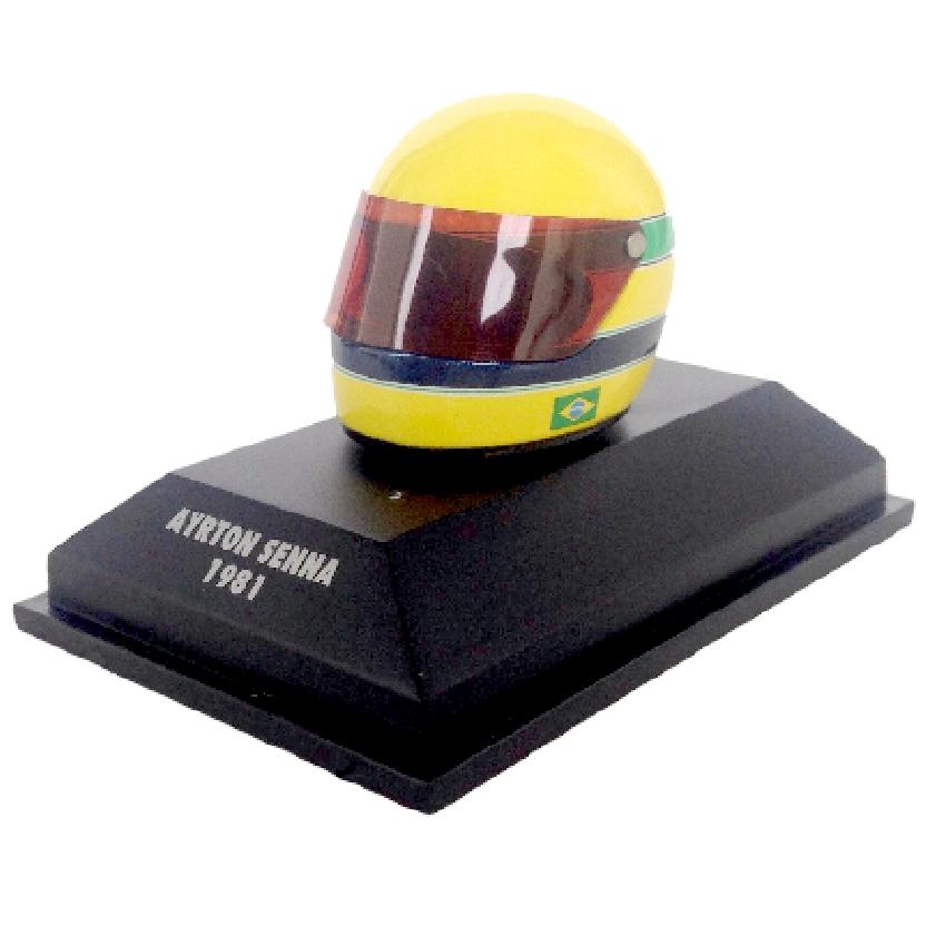 Capacete Ayrton Senna ARAI (1981) marca Minichamps escala 1/8