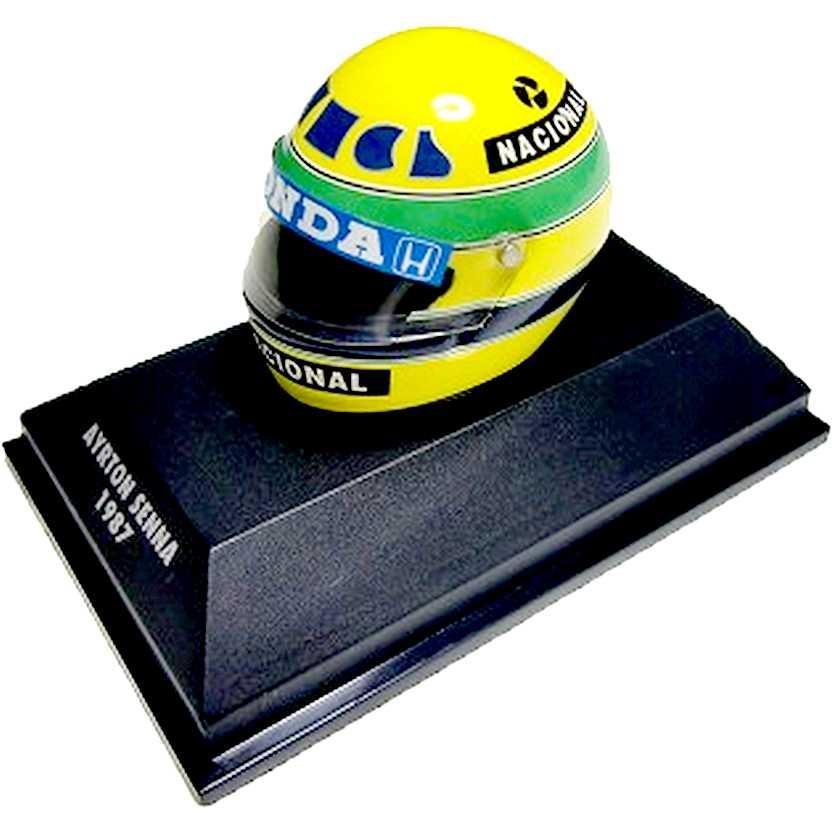 Capacete Ayrton Senna BELL (1987) Minichamps escala 1/8