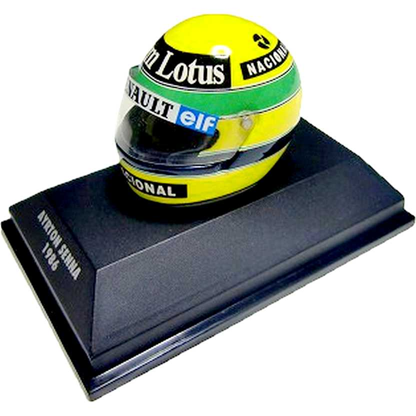 Capacete Ayrton Senna Bell Lotus 98T/Renault (1986) Minichamps escala 1/8