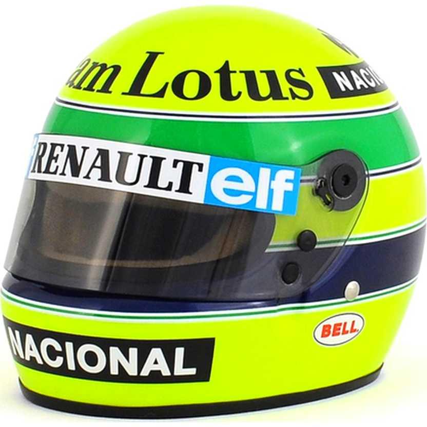 Capacete Ayrton Senna Lotus 97T Fórmula 1 (1985) marca Bell escala 1/2