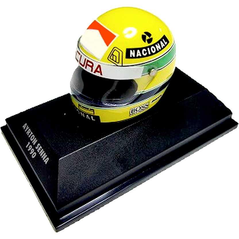 Capacete Ayrton Senna RHEOS (1990) Minichamps escala 1/8
