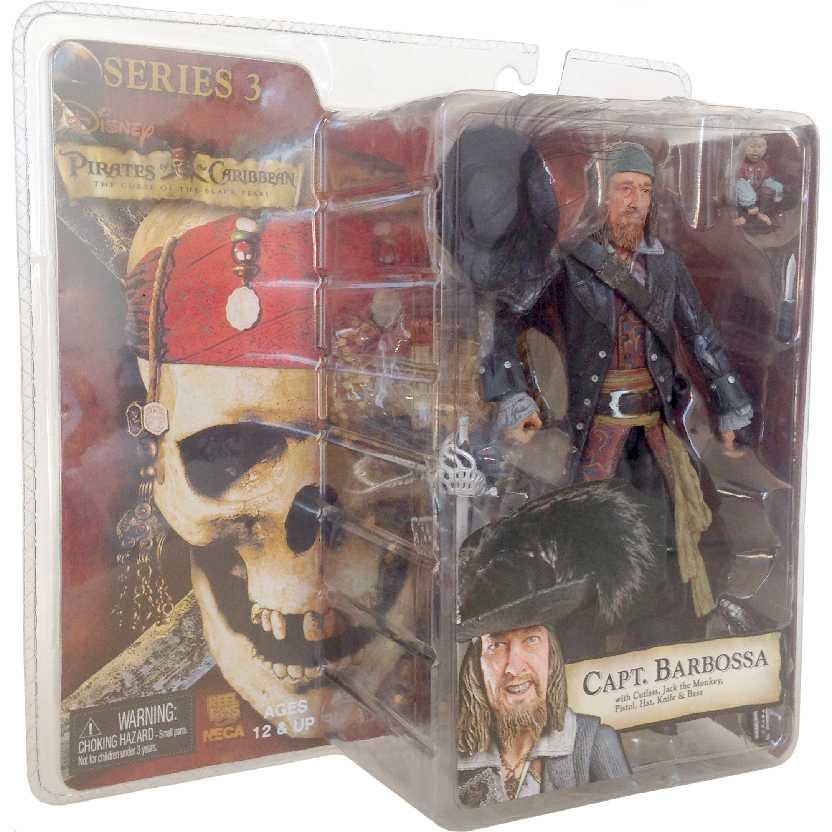 Capt. Barbossa Dead Man Chest 3 Piratas do Caribe Capitão Barbossa Neca action figures