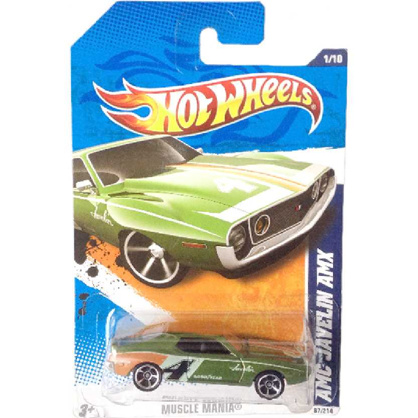 Carrinho 2010 Hot Wheels AMC Javelin AMX series 1/10 87/214 R7504 escala 1/64