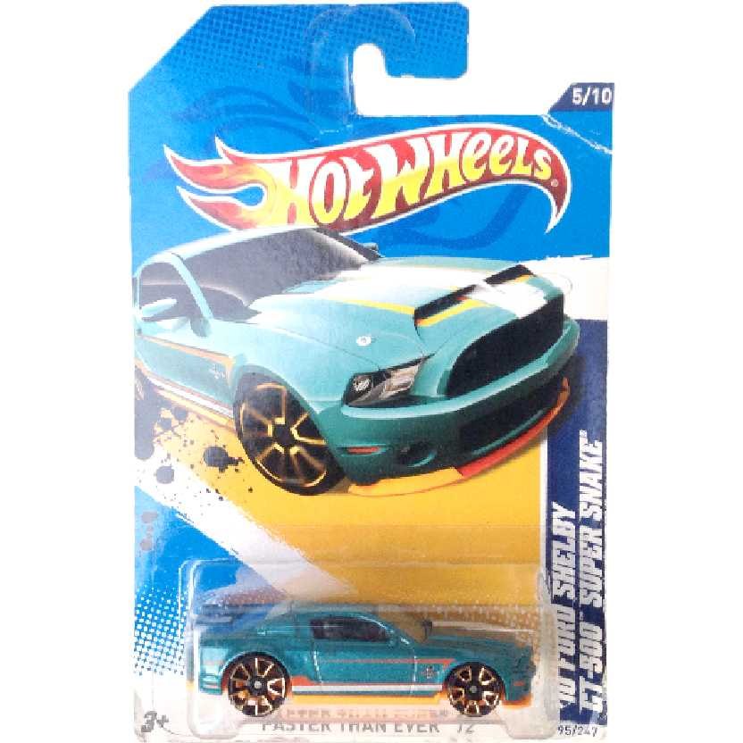 Carrinho 2012 Hot Wheels 10 Ford Shelby GT-500 Super Snake 5/10 95/247 V5574 escala 1/64