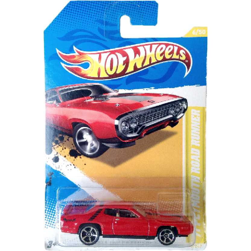 Carrinho 2012 Hot Wheels 71 Plymouth Road Runner series 6/50 6/247 V5563 escala 1/64