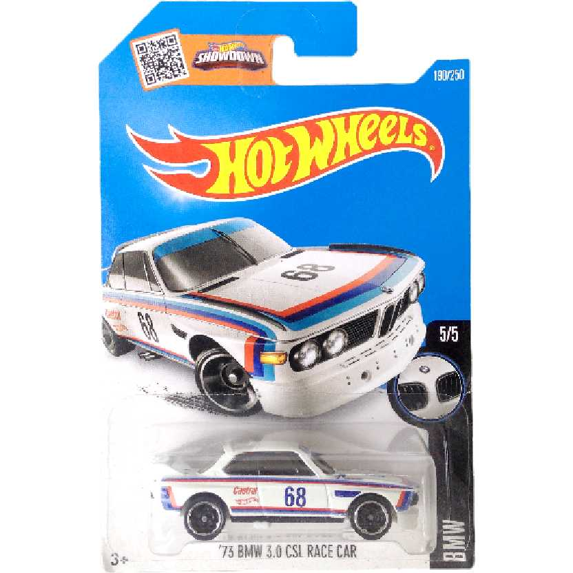 Carrinho 2016 Hot Wheels 73 BMW 3.0 CSL Race Car series 5/5 190/250 DHP29 escala 1/64