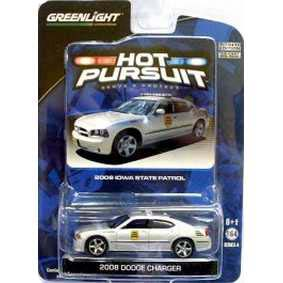 Carrinho Greenlight Hot Pursuit 1/64 Dodge Charger Iowa Police (2008) R4 42610