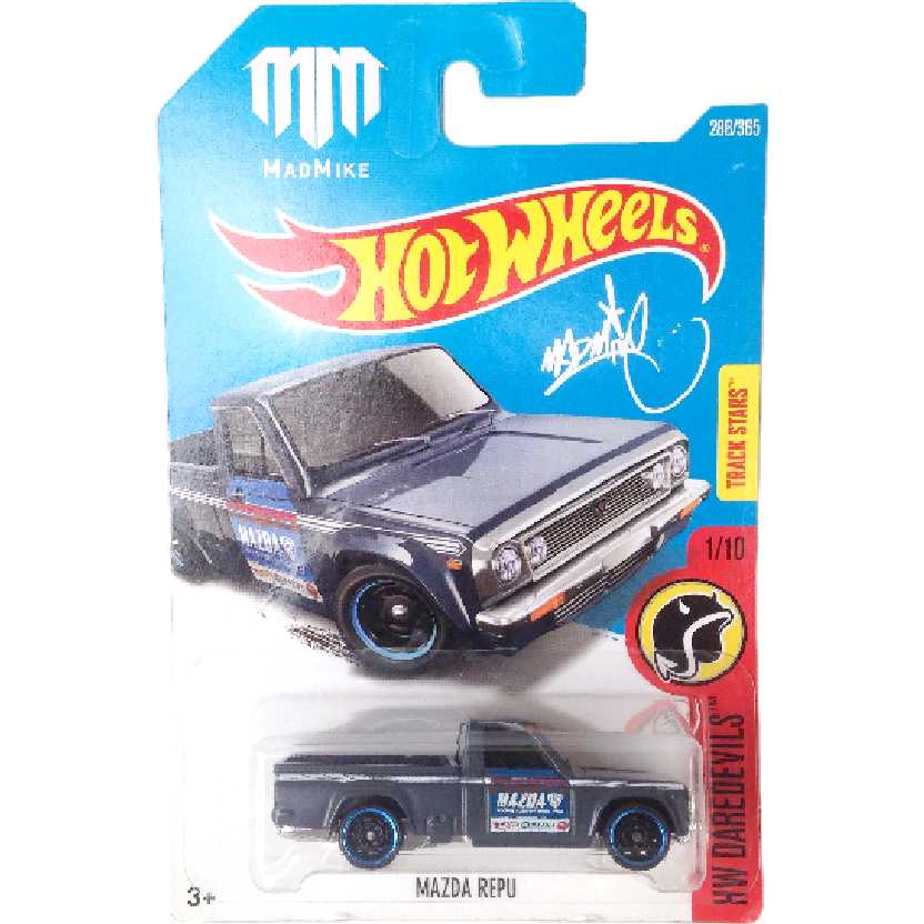 Carrinho Hot Wheels 2017 Mazda Repu Mad Mike series 1/10 286/365 DTX00 escala 1/64
